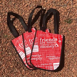 SET OF 3-Lululemon reusable snap tote bag.